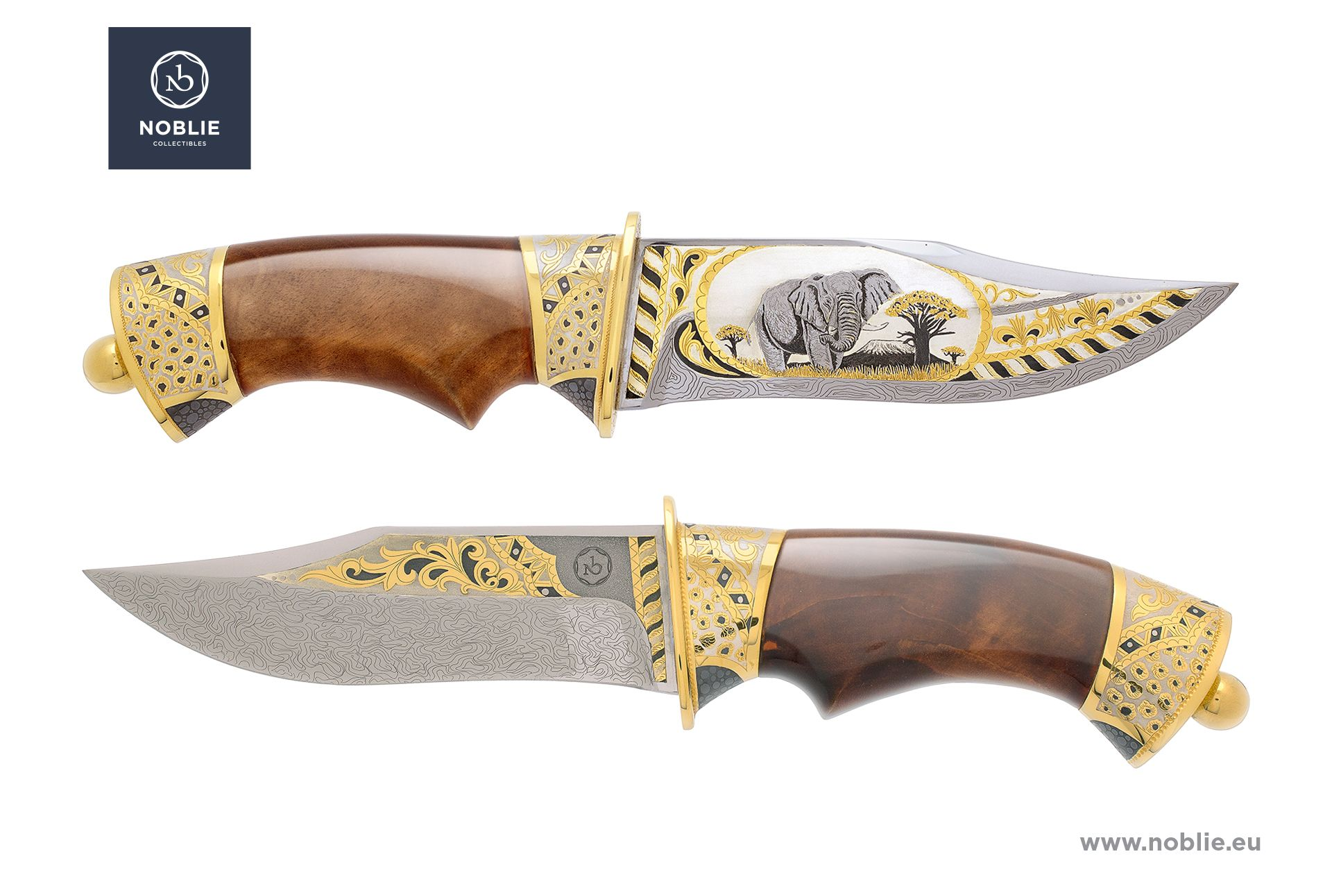 "damascus hunting knife ""African Great five. The elephant"""
