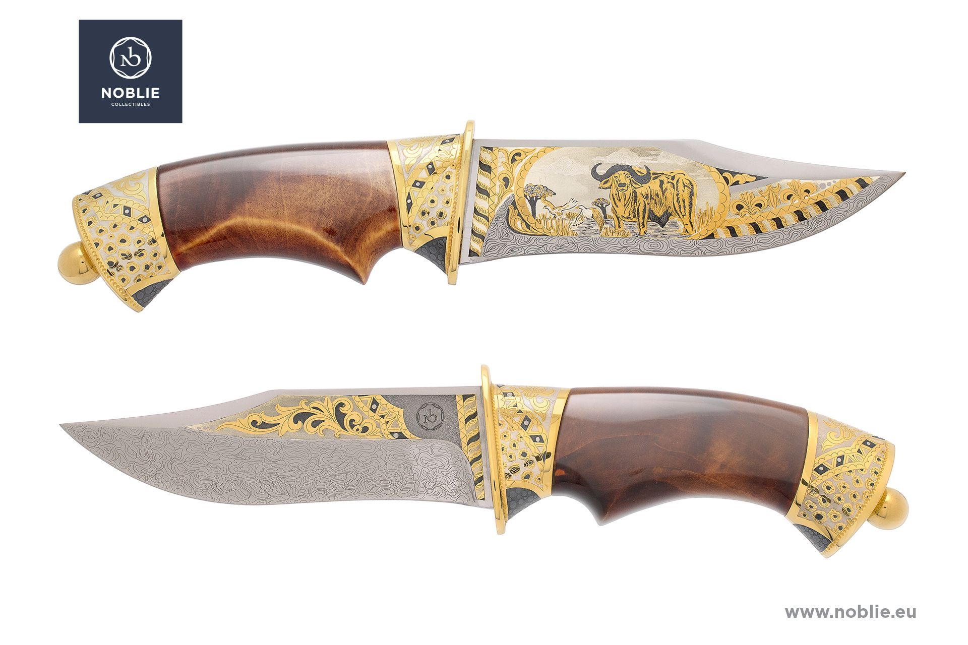 "damascus hunting knife ""African Great five. The buffalo"""