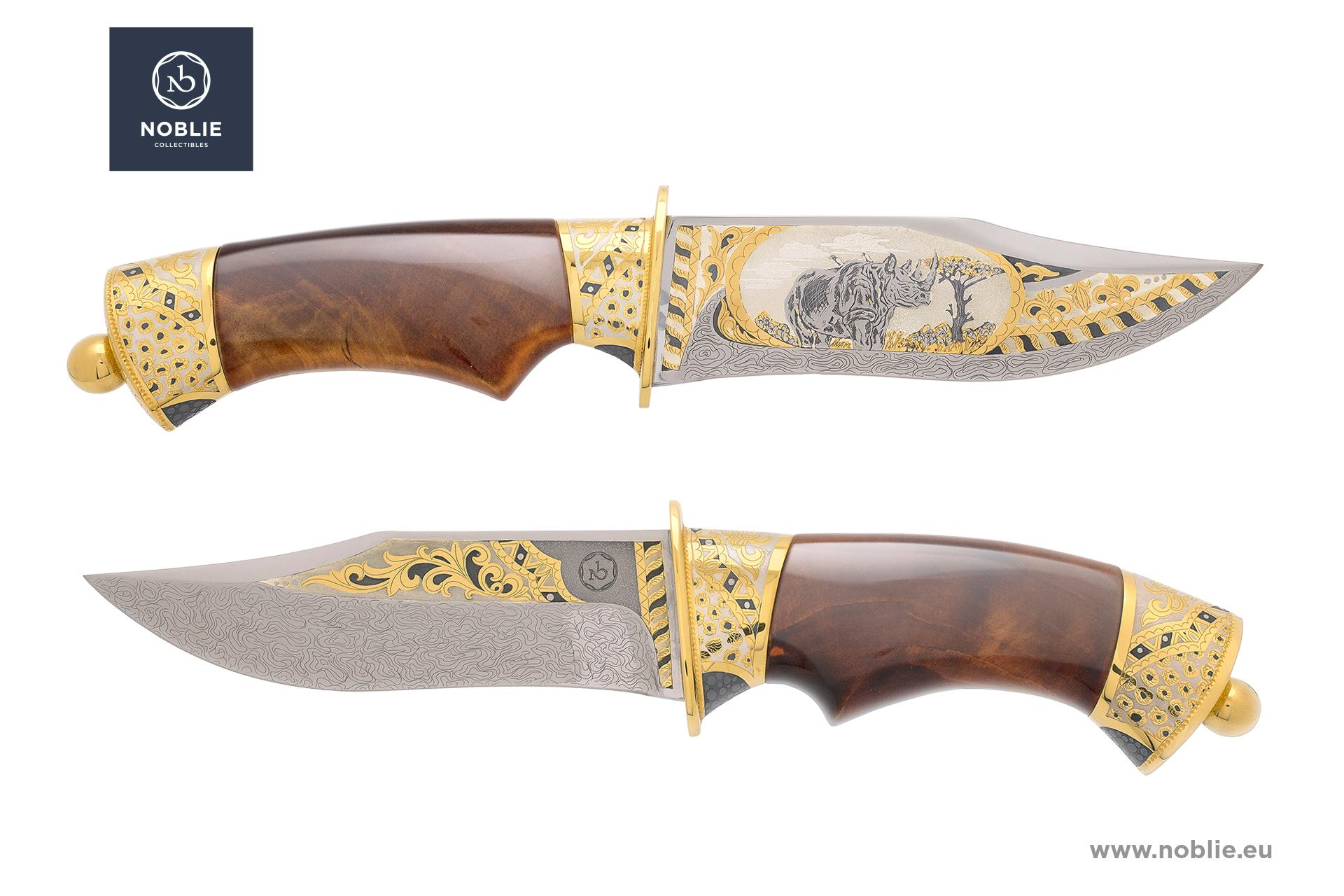 "engraved knife ""African Great five. The rhino"""