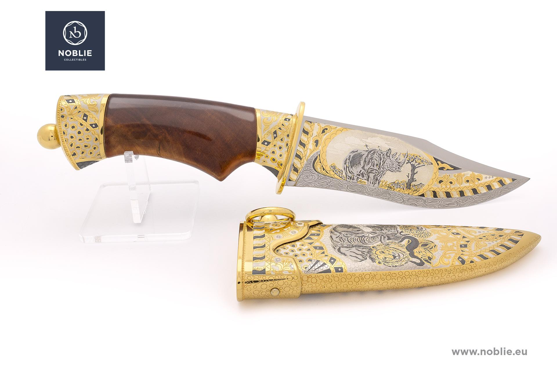 "damascus hunting knife ""African Great five. The rhino"""