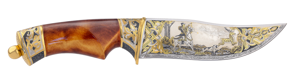 "engraved knife ""Medieval hunting of deer"""