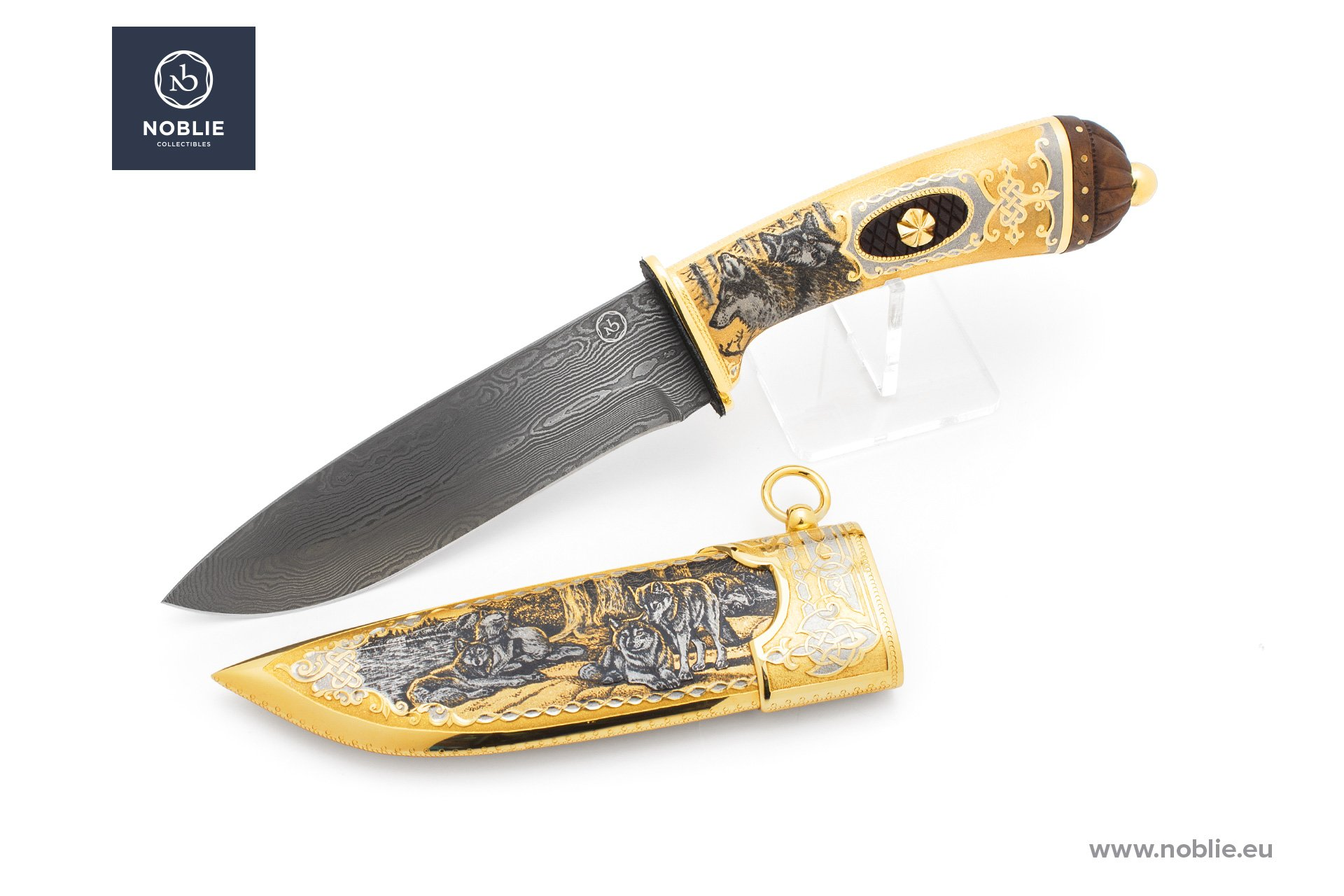 "damascus blade ""Canis lupus. Wolf"""