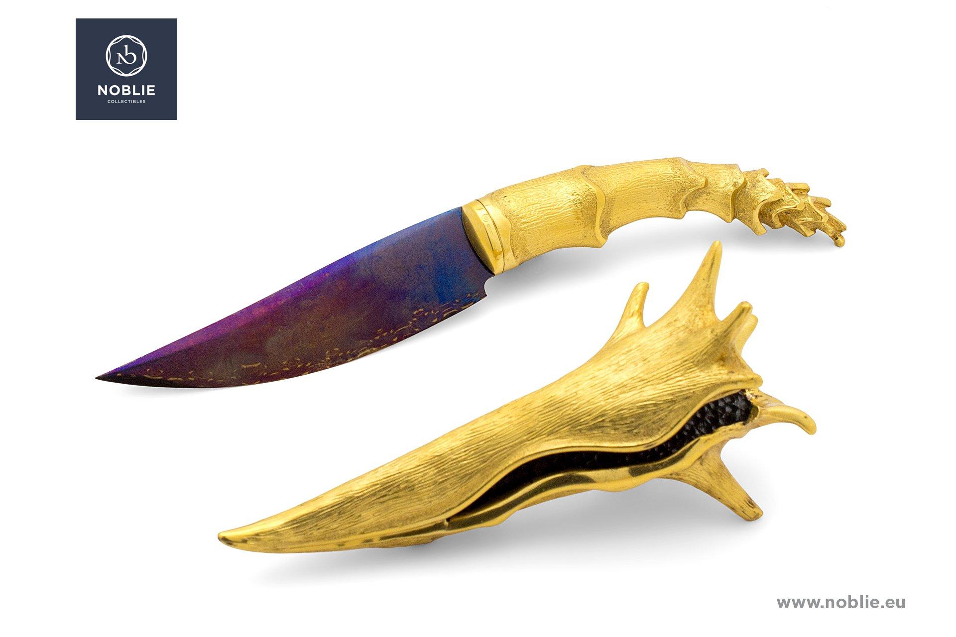 """engraved knife """"Golden shellfish"""""""