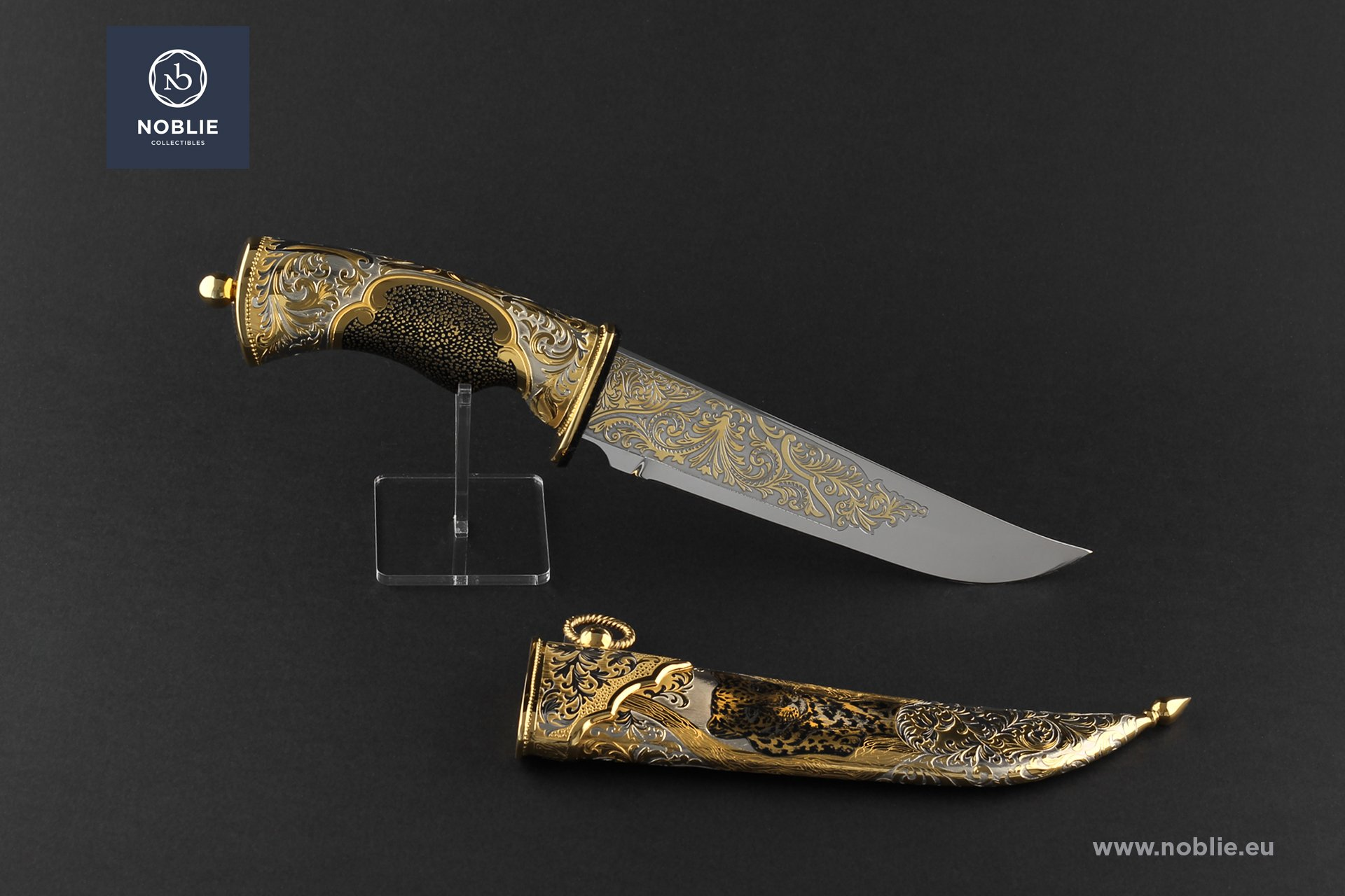 "engraved knife ""Staring at you. The leopard"""
