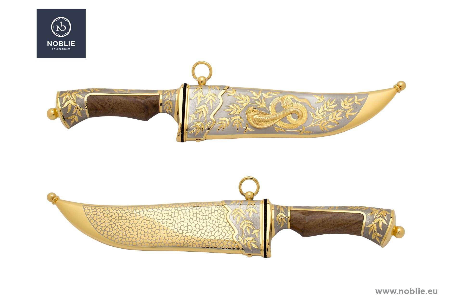 "engraved knife ""Facing the venomous. The cobra"""