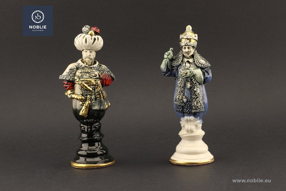"""Collectible porcelain chess """"The battle of Vienna"""""""