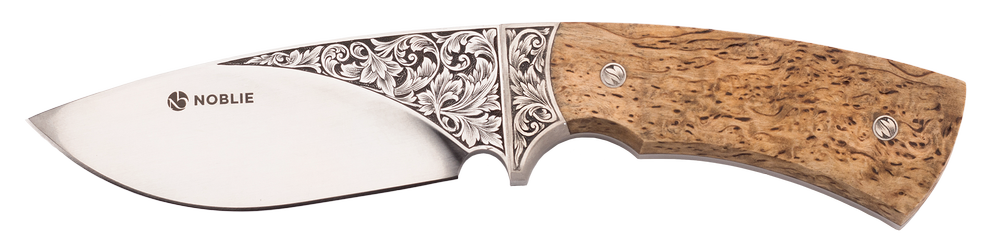 Custom hunting knife with engraved blade and bolster